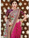 Magenta And Wine Shaded Banarasi Jacquard Saree