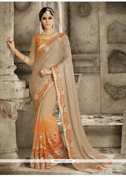 Elite Patch Border Work Net Designer Saree