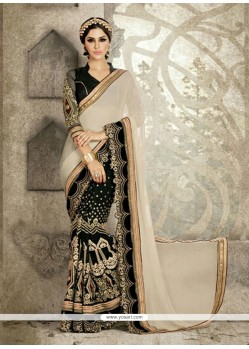 Black Embroidered Work Georgette Designer Saree
