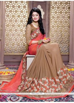 Glitzy Brown Embroidered Work Faux Crepe Traditional Saree