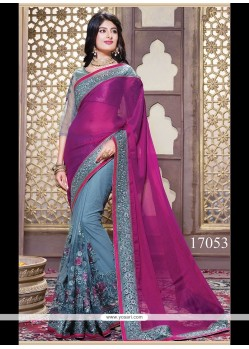 Embroidered Georgette Classic Saree In Magenta