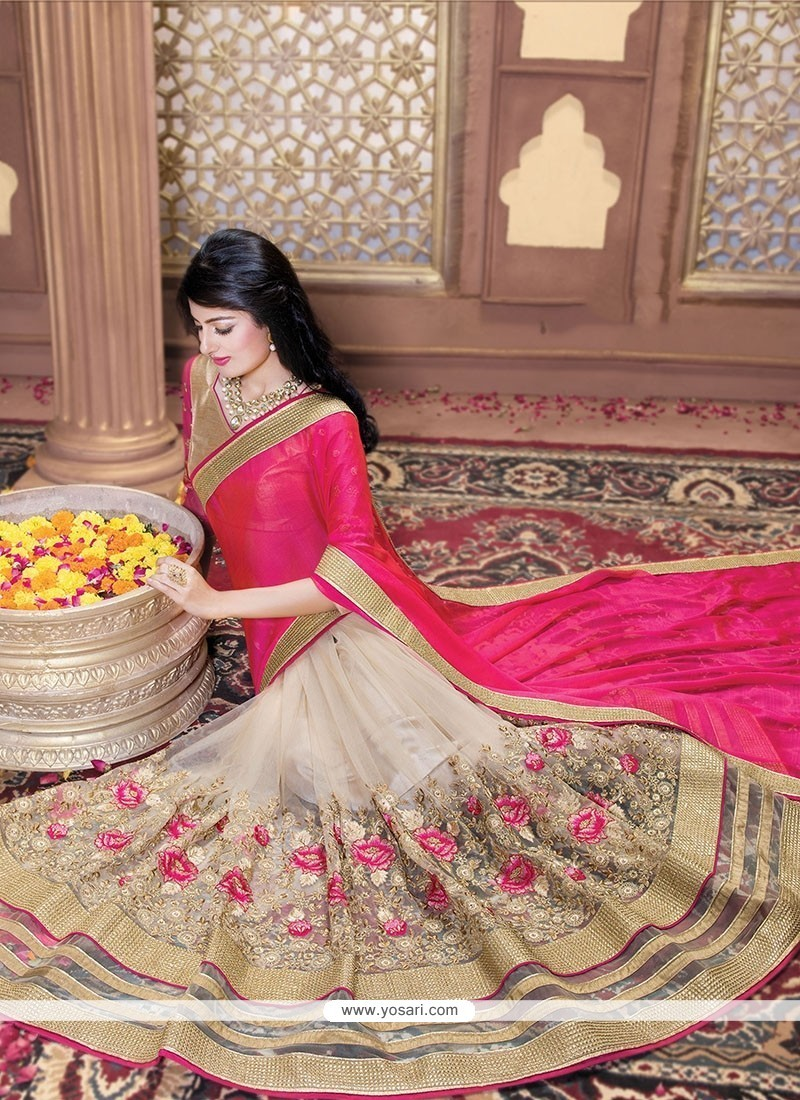Outstanding Patch Border Work Beige Classic Saree