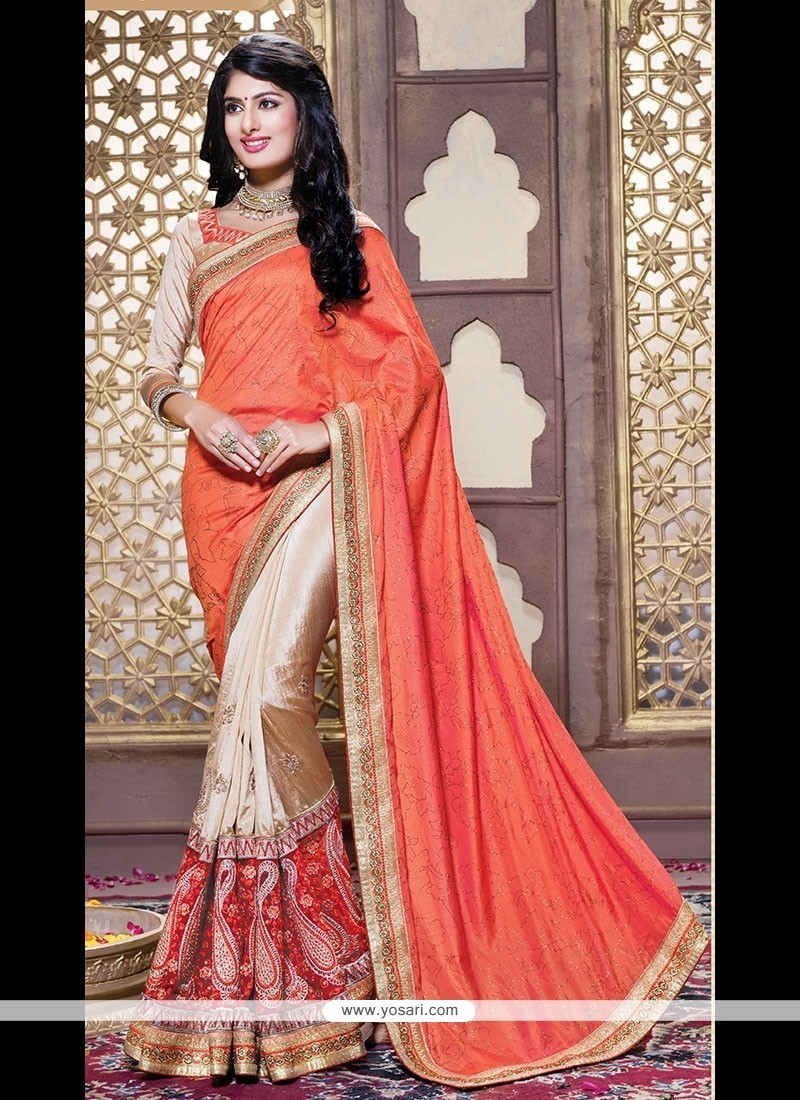 Artistic Orange Patch Border Work Classic Designer Saree