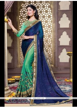 Classy Green Embroidered Work Jacquard Designer Saree