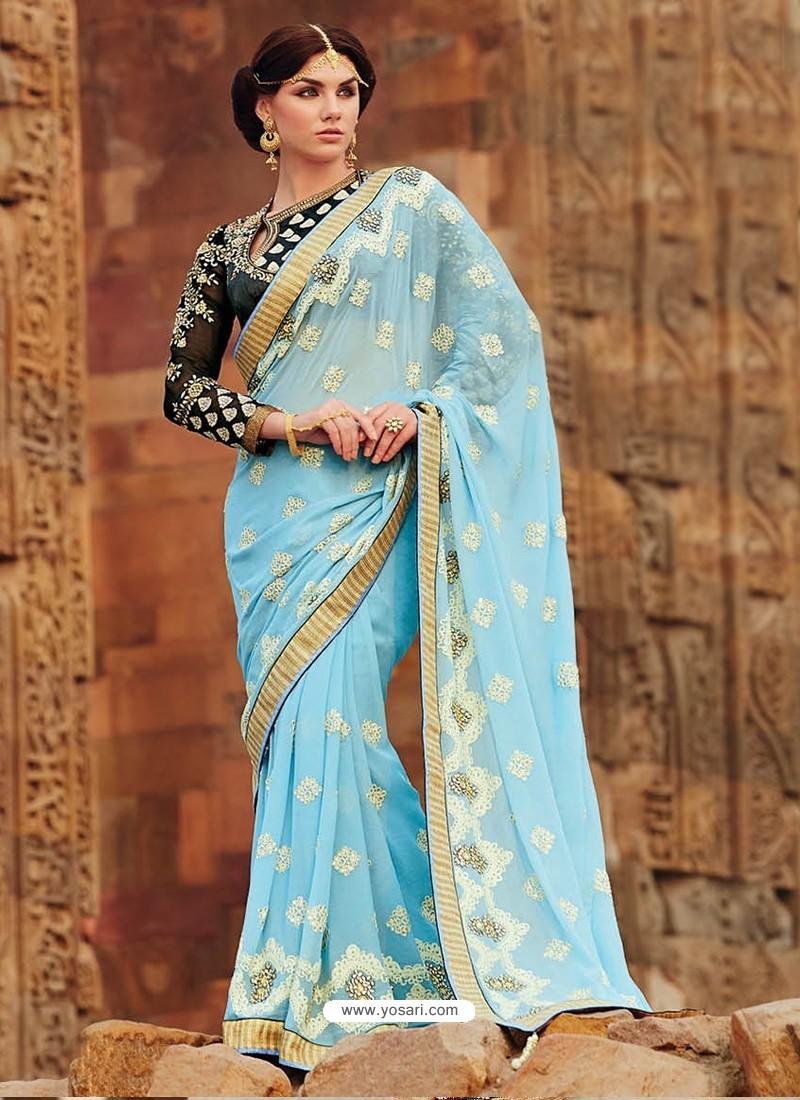 Sky Blue Premium Georgette Designer Saree