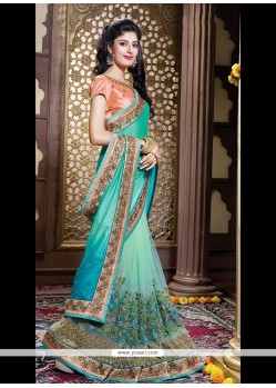 Catchy Net Embroidered Work Classic Designer Saree
