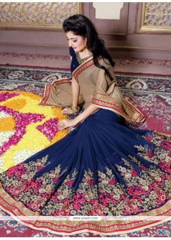 Delightsome Shimmer Georgette Navy Blue Designer Traditional Sarees