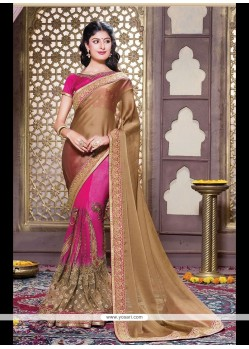 Integral Hot Pink Embroidered Work Chiffon Satin Designer Traditional Sarees