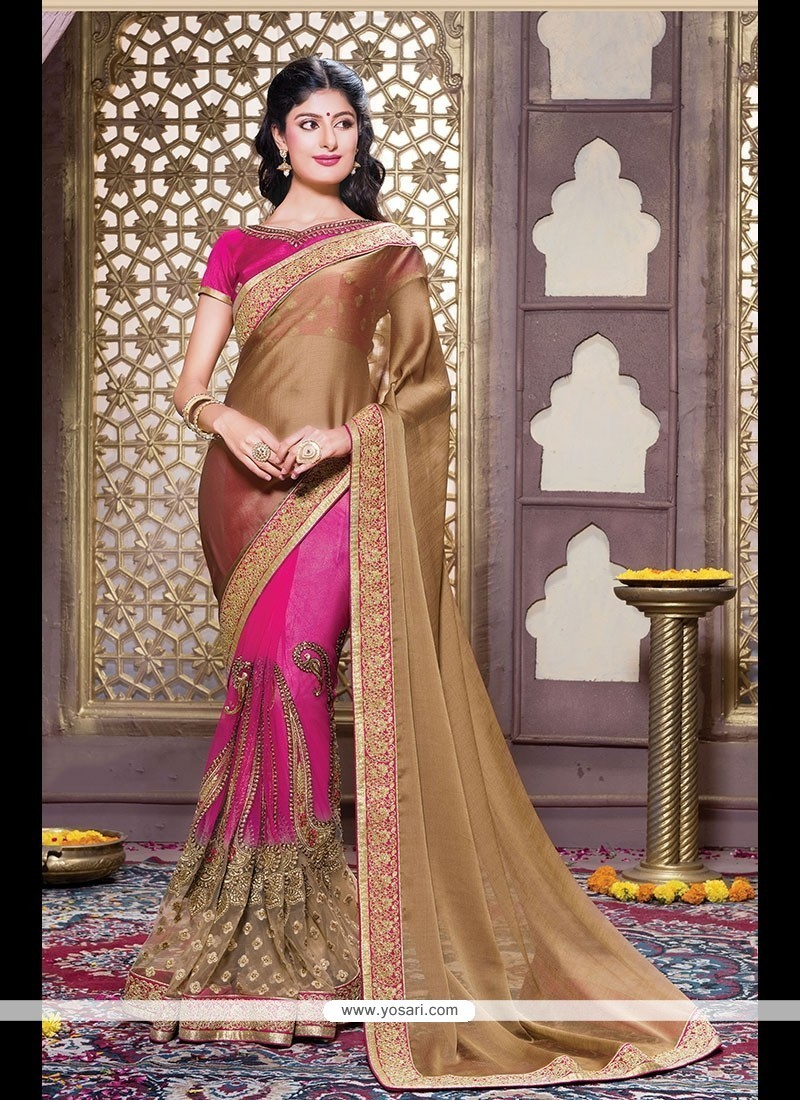 Integral Hot Pink Embroidered Work Chiffon Satin Designer Traditional Sarees