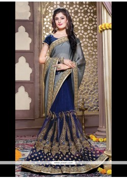 Grandiose Chiffon Satin Patch Border Work Designer Saree