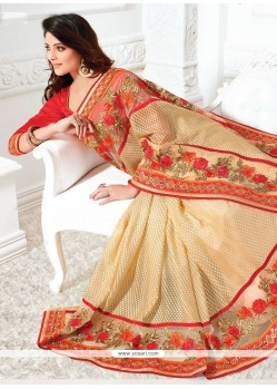 Magnetic Beige Embroidered Work Classic Designer Saree