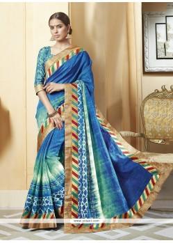 Blue Print Work Silk Printed Saree