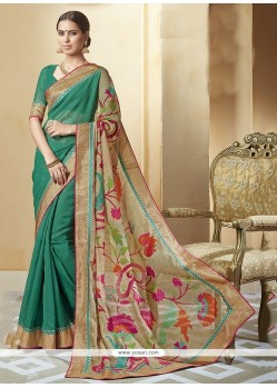 Thrilling Silk Print Work Printed Saree