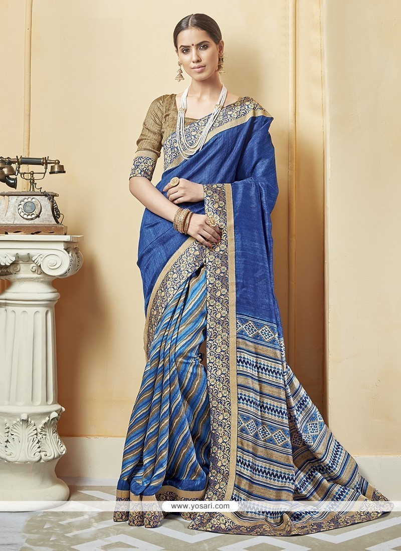 Sophisticated Multi Colour Print Work Silk Printed Saree