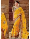 Yellow Tussar Silk Designer Saree