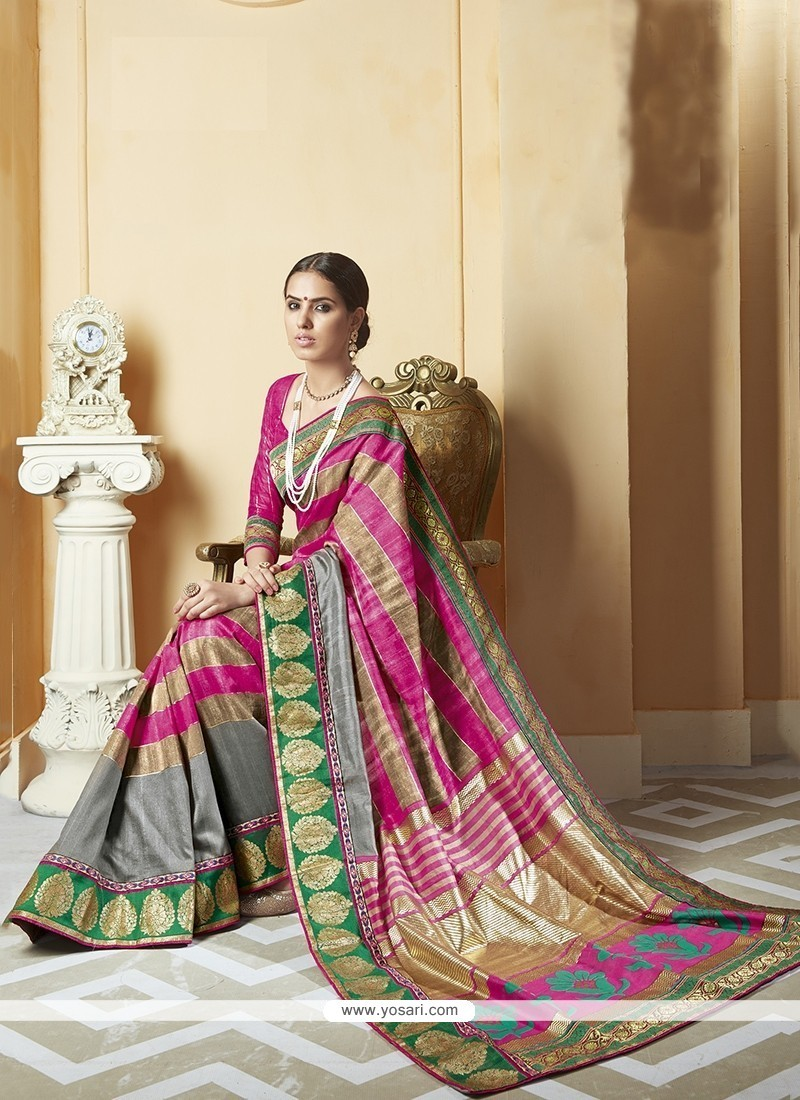 Prominent Multi Colour Print Work Silk Printed Saree