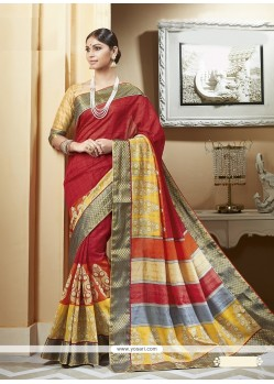Glamorous Print Work Multi Colour Printed Saree