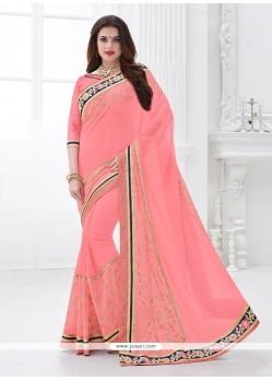 Awesome Georgette Pink Traditional Saree