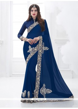 Riveting Faux Chiffon Embroidered Work Classic Saree
