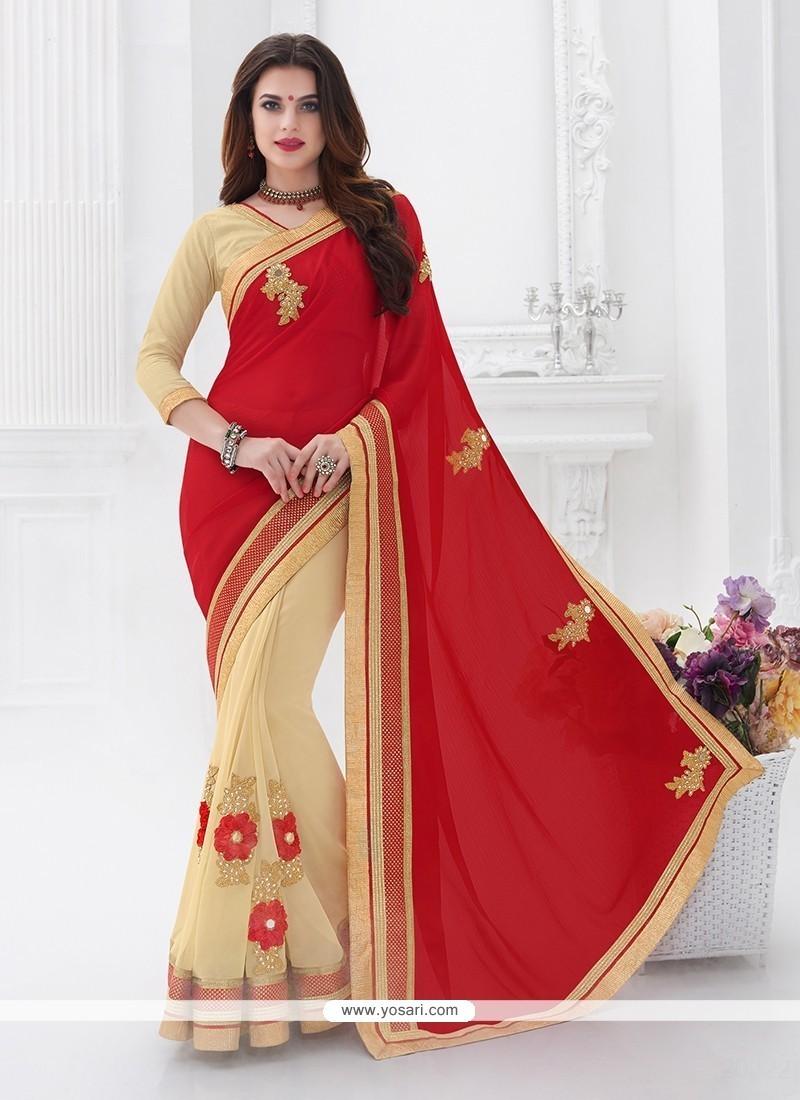 Embroidered Satin Designer Saree In Red