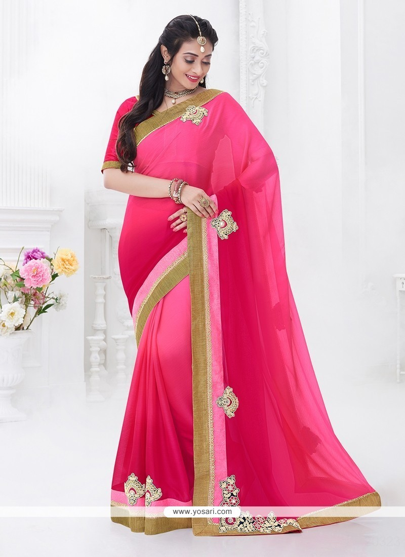 Marvelous Patch Border Work Hot Pink Classic Designer Saree
