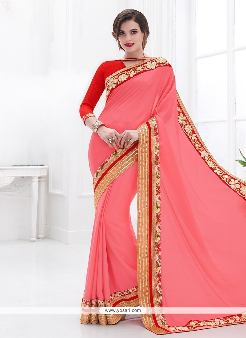 Winsome Pink Embroidered Work Faux Chiffon Designer Saree