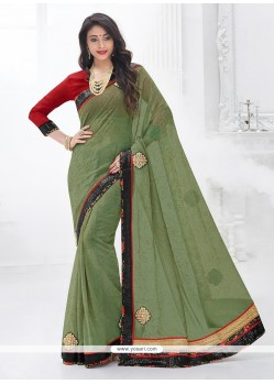 Flamboyant Patch Border Work Green Trendy Saree