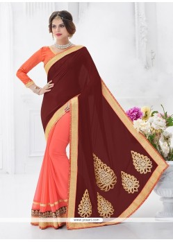 Sunshine Satin Patch Border Work Designer Saree