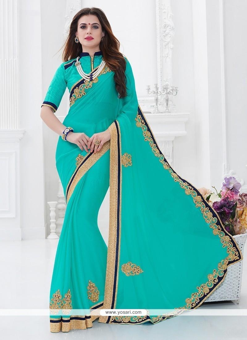 Innovative Blue Faux Chiffon Saree