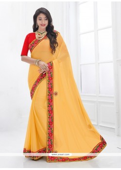 Superlative Embroidered Work Faux Chiffon Classic Saree