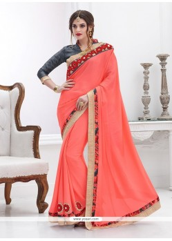Beauteous Rose Pink Patch Border Work Faux Chiffon Designer Saree