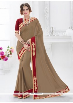 Glorious Chiffon Satin Beige Embroidered Work Classic Designer Saree