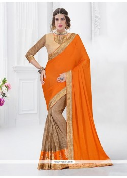 Surpassing Chiffon Satin Orange Designer Saree