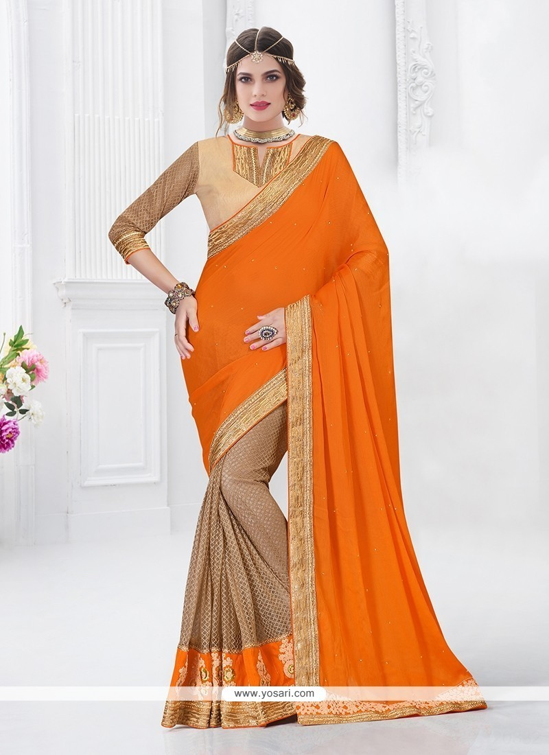 Surpassing Chiffon Satin Orange Designer Saree