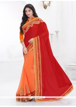 Mod Orange And Red Faux Chiffon Classic Saree