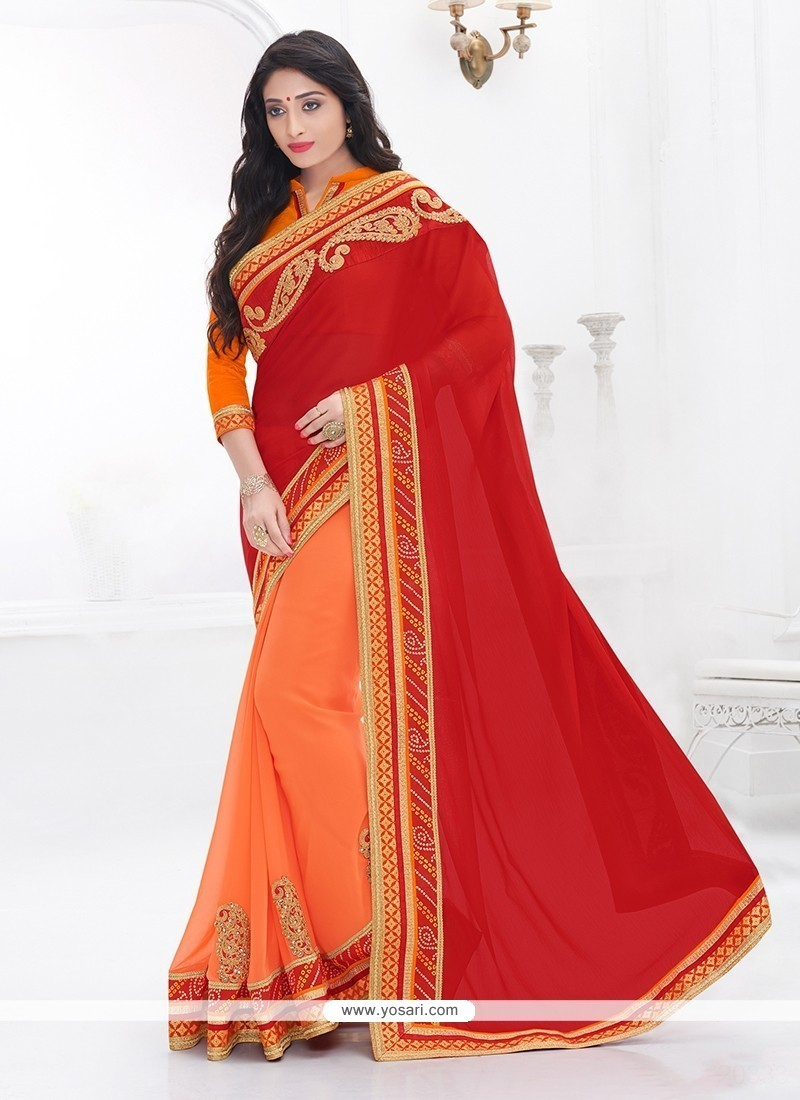 Mod Orange And Red Faux Chiffon Classic Saree
