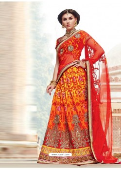 Red And Orange Premium Net Lehenga Saree