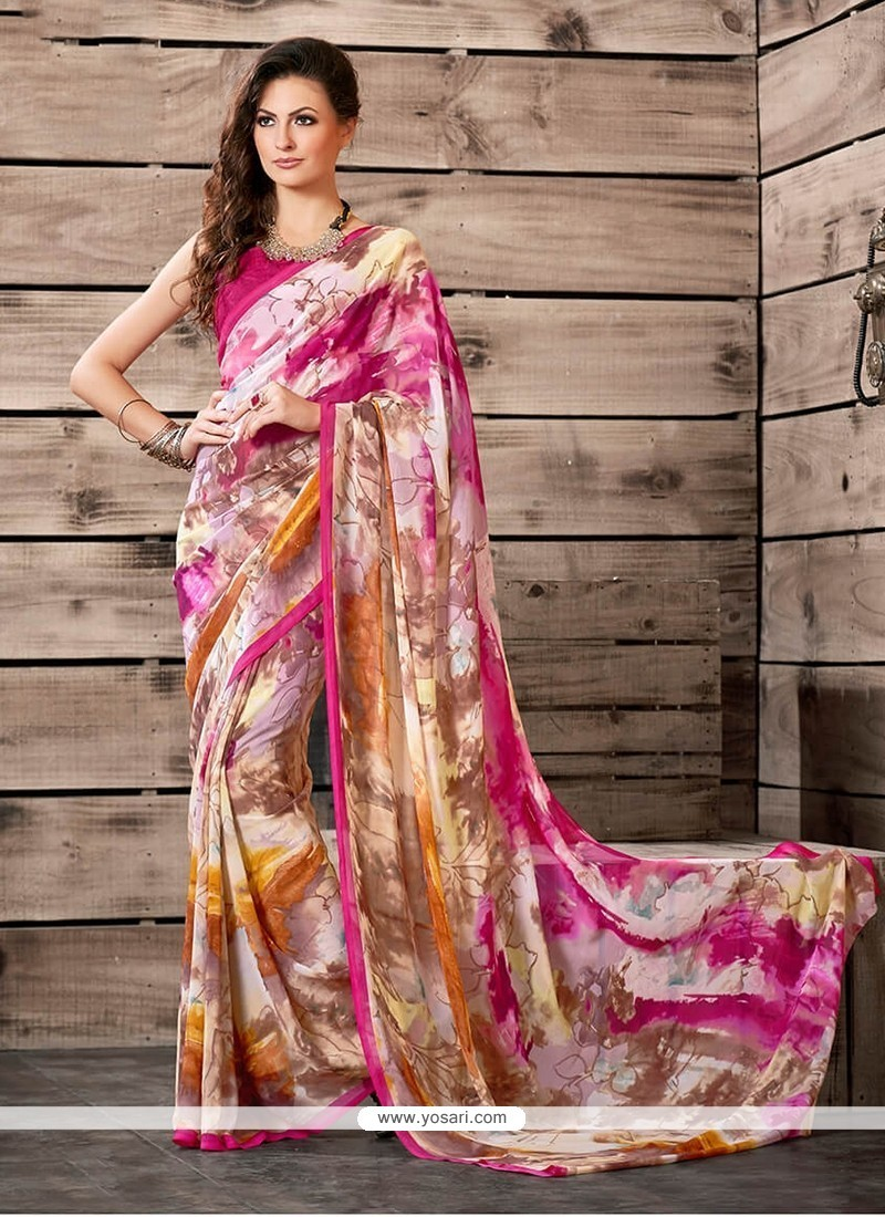 Spectacular Multi Colour Georgette Printed Saree