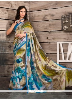 Magnetize Georgette Multi Colour Print Work Casual Saree
