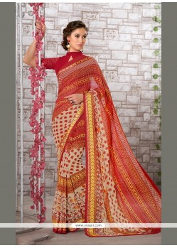 Capricious Print Work Georgette Casual Saree