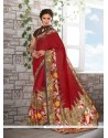 Delectable Red Print Work Faux Crepe Casual Saree