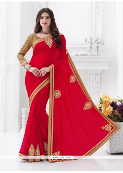 Versatile Red Embroidered Work Classic Saree