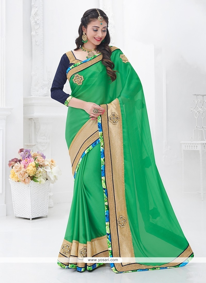 Sorcerous Sea Green Patch Border Work Chiffon Satin Classic Saree