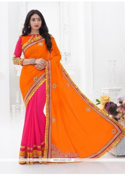 Excellent Faux Crepe Hot Pink Designer Saree