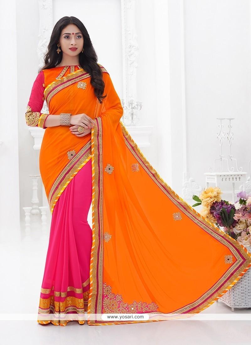 Excellent Faux Crepe Hot Pink Designer Saree