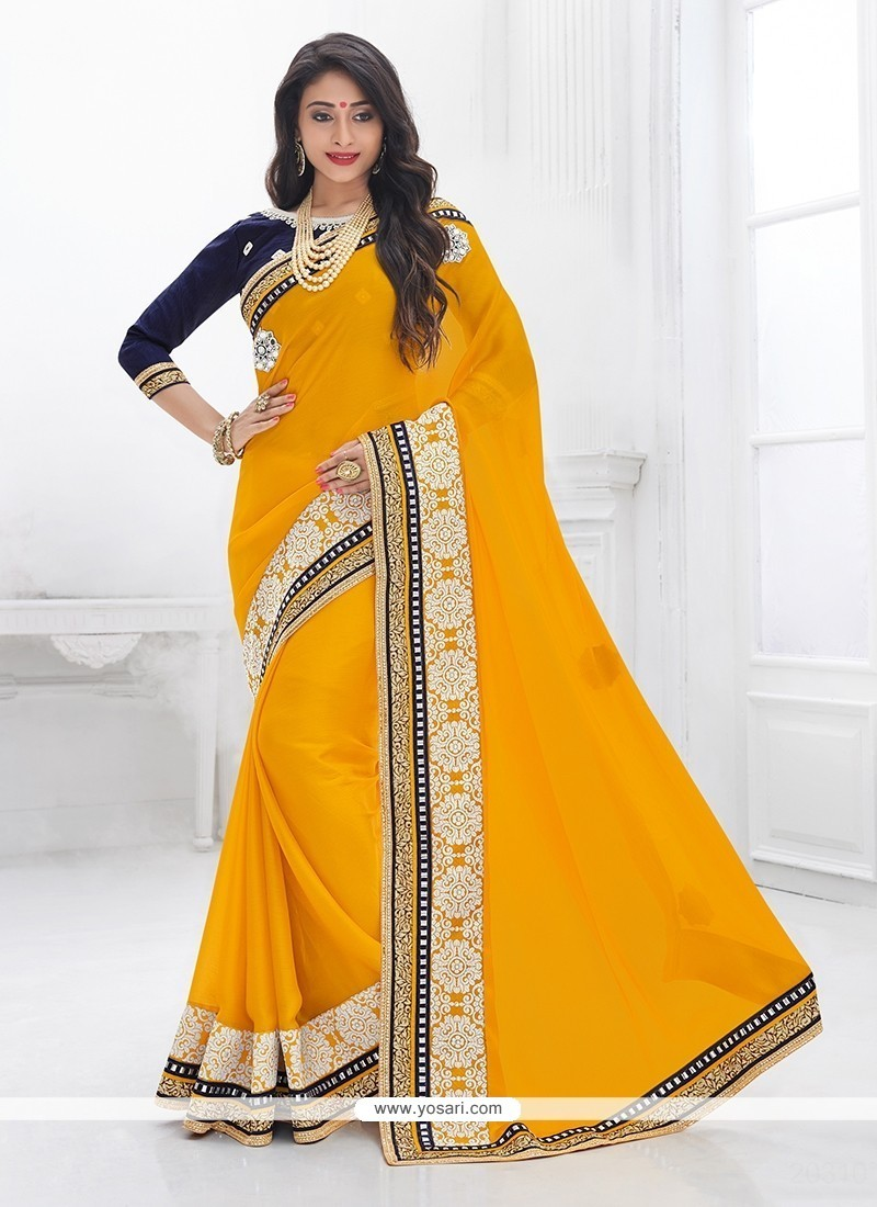 Cherubic Patch Border Work Mustard Trendy Saree