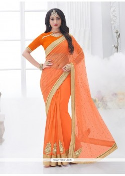 Impeccable Orange Designer Saree