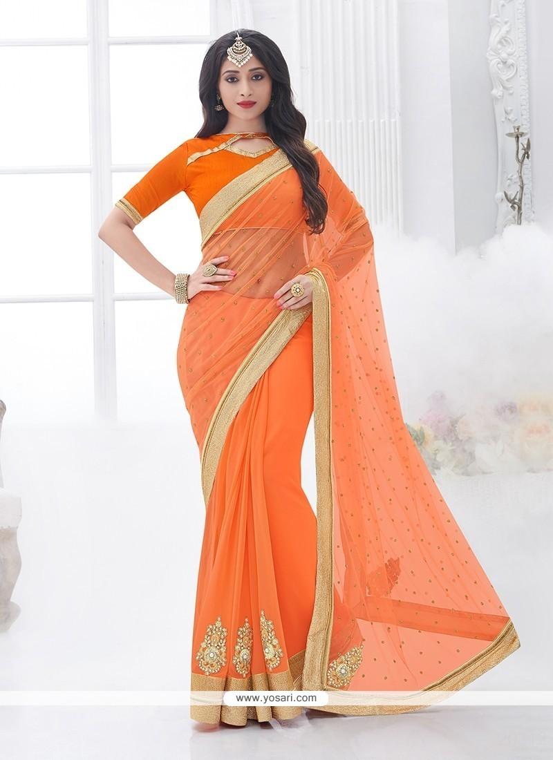 Impeccable Orange Designer Saree