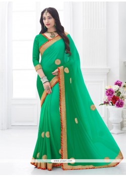 Enthralling Patch Border Work Traditional Saree