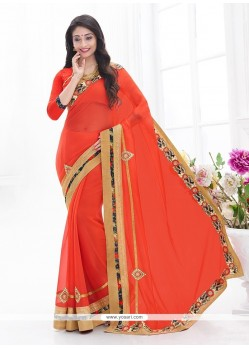 Scintillating Faux Chiffon Embroidered Work Classic Saree